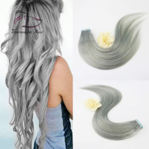 China Human Hair Products Full Cuticle Thick End Tape Color Grey ...