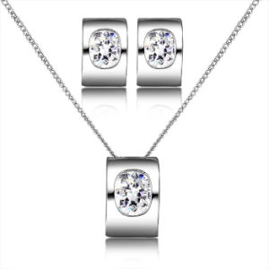 Hot Selling Costume Jewelry Retangle Design White Gold Crystal Jewelry Set