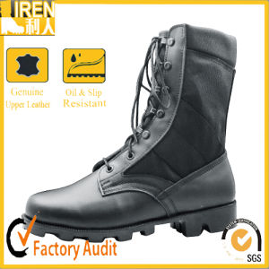 Black Genuine Cow Leather Polyester Fabric Military Boot Military Jungle Boot pictures & photos