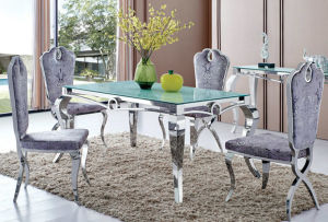 Modern Stylish Glass Metal Dining Room Furniture (tes) pictures & photos