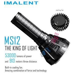 Imalent Ms12 Brightest Flashlight 53000 Lumens Search Light