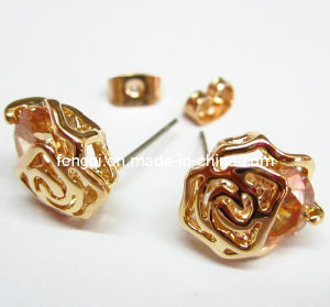 Retro Rose Flower Gold Stud Earrings (FQ-5002)