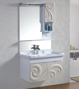 China Simple Design Wall Mounted Pvc Bathroom Wash Basin Cabinet