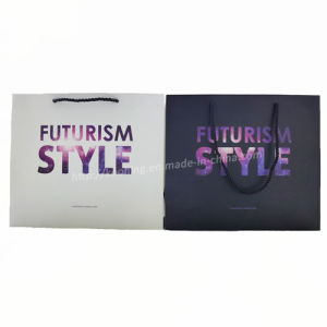 Beautiful Galactic Color Logo White Paper Shopping Handle Bag pictures & photos