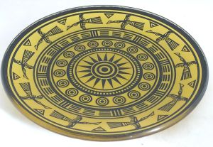 Retro Stylish Sun Decal Decorative Food Tempered Glass Plate