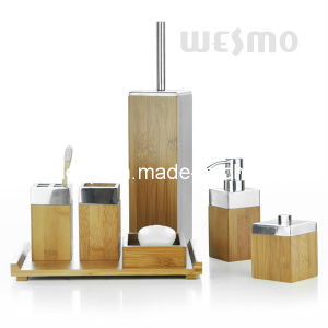 Bamboo Bath Set with Metal Top (WBB0304A) pictures & photos
