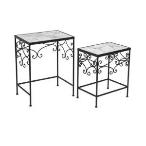 Tremendous White Contemporary Marble Nesting Sofa Side Table Evergreenethics Interior Chair Design Evergreenethicsorg