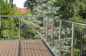 Elegant Outdoor Deck Stainless Steel Wire Rope Railing / Balustrade