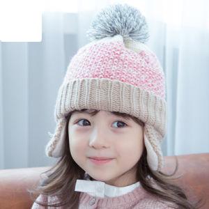 adb1a12078f237 China Kids Cute Winter Warm Knitted Beanie Earflap POM POM Crochet ...