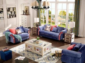House Furniture Modern Design Navy Blue Fabric Couch Living Room Sofa