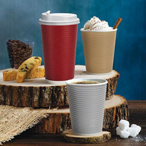 Double Wall Insulated Ripple Coffee Paper Cup with Lid pictures & photos