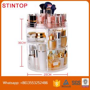 New Design Fashion 360   Degree Rotating Make Up Box Desktop Plastic Boxes  Cosmetics Storage