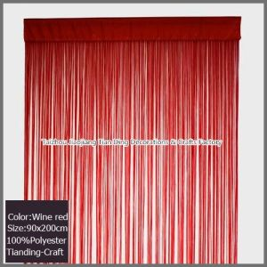 Fringe Door Curtains String Curtain For Decor Wine Red 90x200cm TDS011