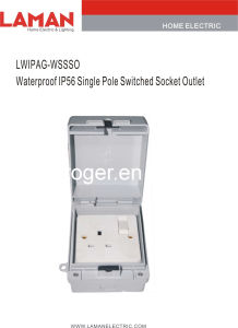 LWIPAG-WSSO IP55 Waterproof Single Switched Socket Outlet