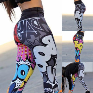 English Letter Digital Printing Yoga Hip Lifting High Waist Bottoming Pants Women Manufacturers Direct Sales Leggings