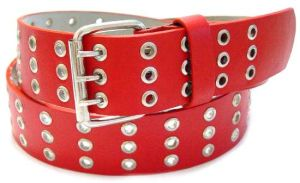 Red 3-Hole Leather Belt (GL002)