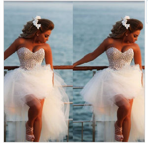 2016 New Short Front Long Back Wedding Dress Knee Length Alsw1705 pictures & photos