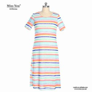 Miss You Ailinna 802030 Women Print Stripe Pattern Cotton Dress