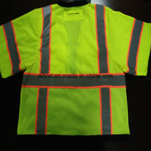 Safety T-Shirt with Reflective Caution Band 100%Polyester Knitting Fabric pictures & photos
