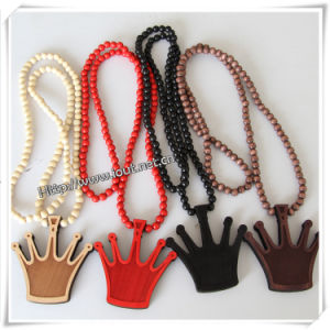 Fashion Shape Pendant with Wood Beads Chain Hip Hop Necklace (IO-wn017) pictures & photos