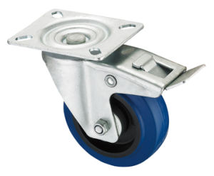 Middle Duty Series Caster - Swivel W/Brake - Blue Elastic Rubber (roller bearing) pictures & photos