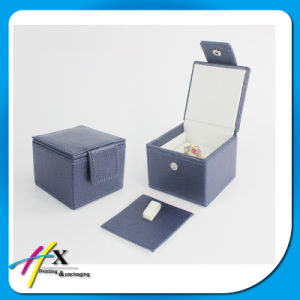 High-Quality PU Leather Jewelry Ring Packaging Box with Button Lock pictures & photos