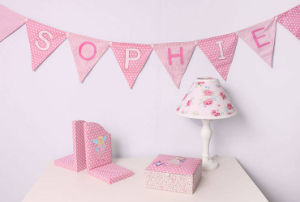 Custom Personalised Baby Girl Bunting Fabric Banner and Flags