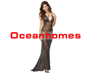 Oceanhomes Sexy Lingerie for Women Perspective Long Dress Halter Black  Nightgown for Sex 22f3792d0b