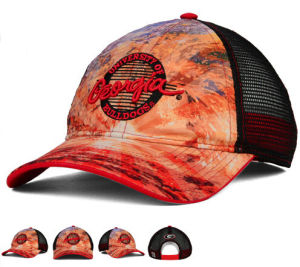 3D Embroidery 6 Panels Black Satin Front Trucker Cap with Strap Metal Back pictures & photos