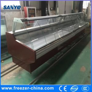 Supermarket Food Display Refrigerator Chiller with Curved Glass Door in Front pictures & photos