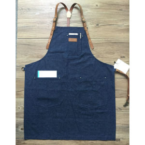 Factory Custom High Quality Blue Bartender Aprons for Bar with Leather Strap