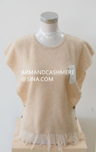 Women′s Cashmere Sweater Poncho in Crew Neck (ZH2014-08)