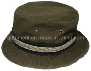 Grinding Washed Jacquard Binding Twill Fishing Bucket Hat (TRBH018) pictures & photos