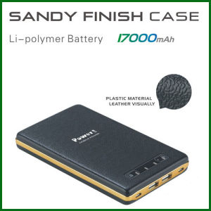 17000mAh OEM Leather Portable Mobile Power Bank