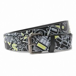 All Over Printing PU Belt with Iron Roller Buckle