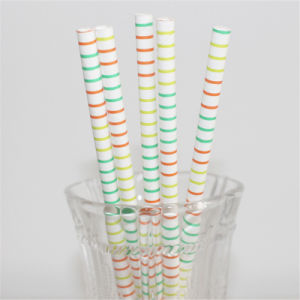 Eco-Friendly New Design Colorful Striped Paper Straws pictures & photos