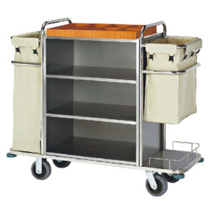 Solid Wheels Hotel Housekeeping Trolley Maid Cart pictures & photos