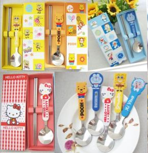 Stainless Steel Lovely Children Cutlery Set with Gift Box