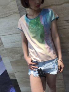 Summer Fashion Latest Printing Gradients Flower Ladies T-Shirt Clothes pictures & photos