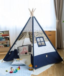 the latest 7852a 01241 Indoor Camping Children Cotton Indian Kids Wood Frame Baby Teepee