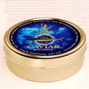 500g Caviar Tin Can Under Vacuum Golden Varnish Inside and Outside pictures & photos