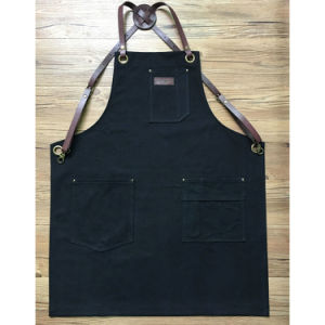 Factory Custom High Quality Black Canvas Carpenter Aprons with Cross Pack Leahter Strap
