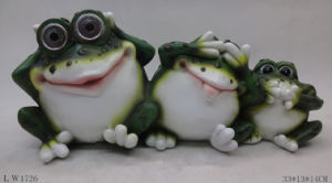 Frog Sculpture Figurine Solar Power Lamp for Garden Decoration