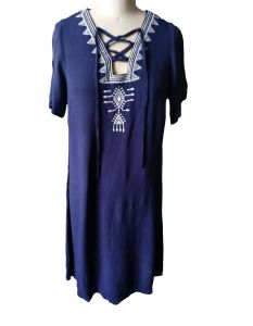 Summer Folk Style Blue Fashion Round Neck Charming Ladies Dress pictures & photos