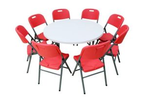 4 Foot Round Plastic Folding Table and Chair Set (SY-122Y) pictures & photos