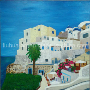 White House and Blue Sea Landscape Painting on Canvas (LH-107000)
