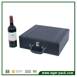 Wholesale PU Leather Wrapping Wood Wine Box pictures & photos