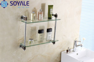 Brass Double Glass Shelf with Chrome Plated (SY-2791D)