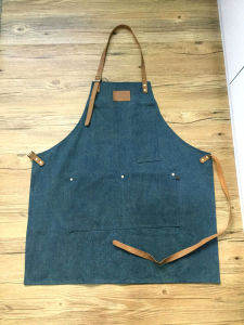 Custom Coffee Shop Denim Apron with Leather Wholesale