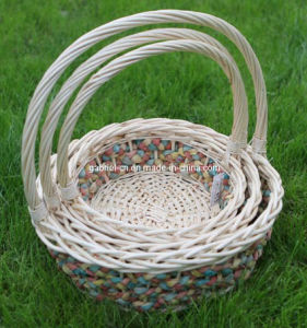 Wicker Basket with Handle (M803)